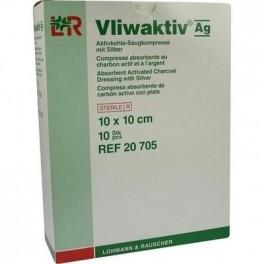 Compresse absorbante au charbon actif et à l'argent - 10x10cm /10unités - Vliwaktiv Ag